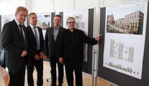 Ludger Wilde, Christian von Roda (Ten Brinke), Detlef Niederquell (Liegenschaften) und Thomas Schmidt (SSP) stellten das Projekt vor. Foto: Karsten Wickern