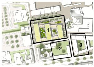 Drei potenzielle Bauflächen gibt es südwestlich des U-Turms. Auf Baufeld 1 sollen das Wohnheim entstehen. Die Flächen 2 und 3 sollen noch vermarktet werden.