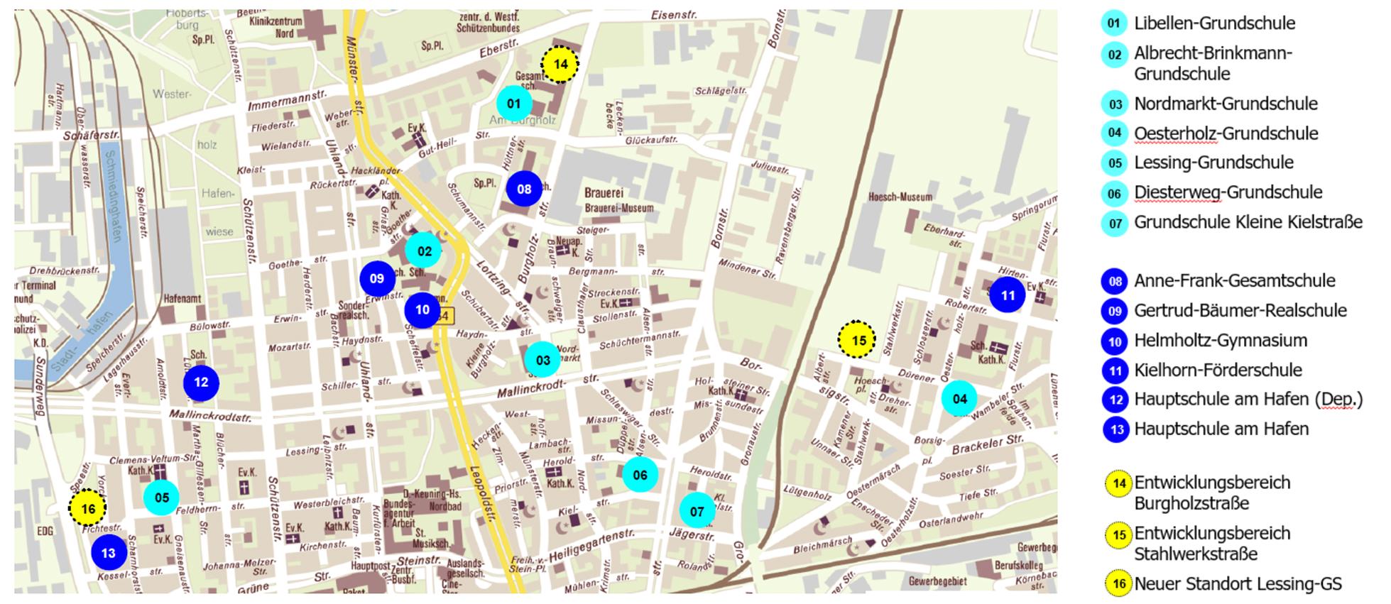 Die Schulentwicklungsplanung in der Nordstadt. Standorte der bisherigen Schulen und Potenzialflächen. Karte: Stadt Dortmund