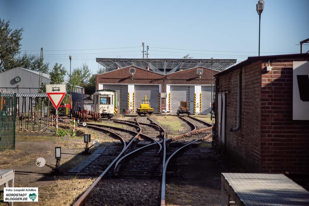 Blick auf das Gelände des alten Mooskampbahnhofs. Heute ist es ein Nahverkehrsmuseum.