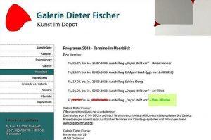 Schließt in Kürze, Galerie Dieter Fischer. Letzte Ausstellung: Jana Pänder, vorverlegt auf den 10.-26. August