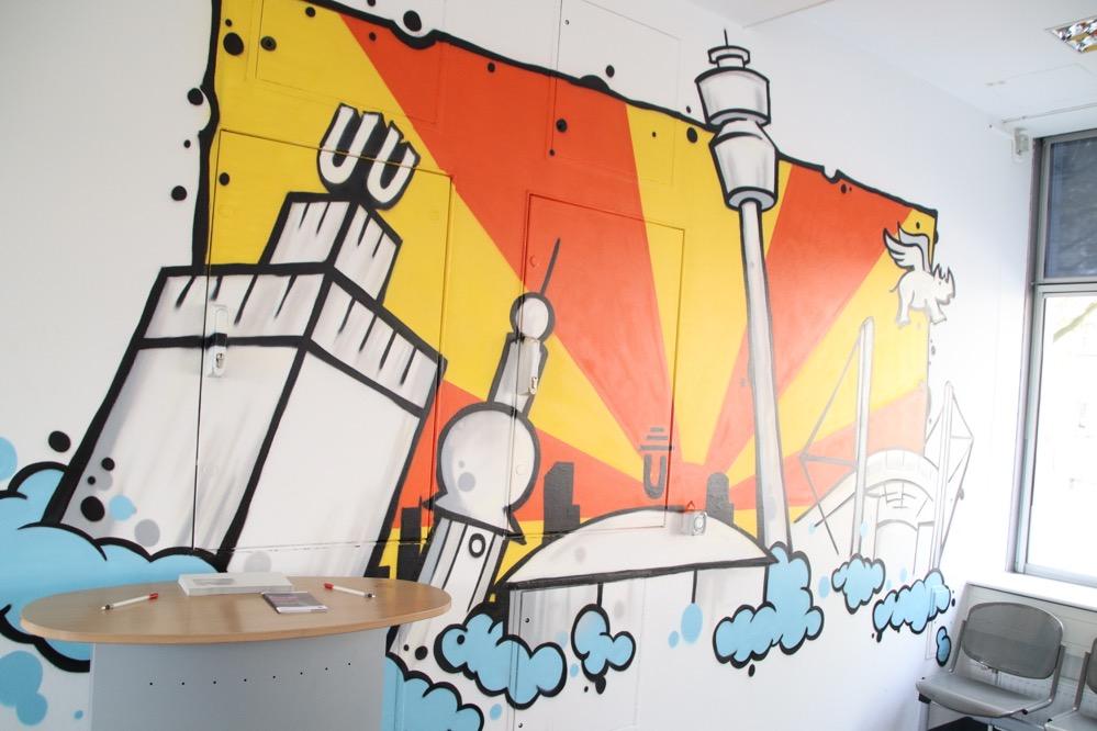 Wartebereich Jugendberufshaus, Skyline Dortmund, entworfen von jungen Leuten: der Amtsschimmel soll verdrängt werden. Fotos: Karsten Wickern