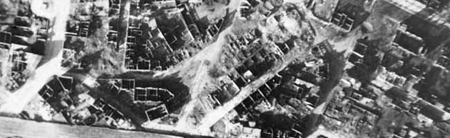 SERIE Nordstadt-Geschichte(n): Ein US-amerikanisches Luftbild zeigt die zerstörte Nordstadt am 15. März 1945