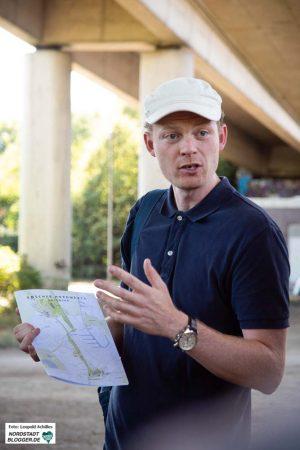 Benjamin Steiling vom Amt für Wohnen und Stadterneuerung erläuterte das Projekt für die grünen Ratsfraktion.
