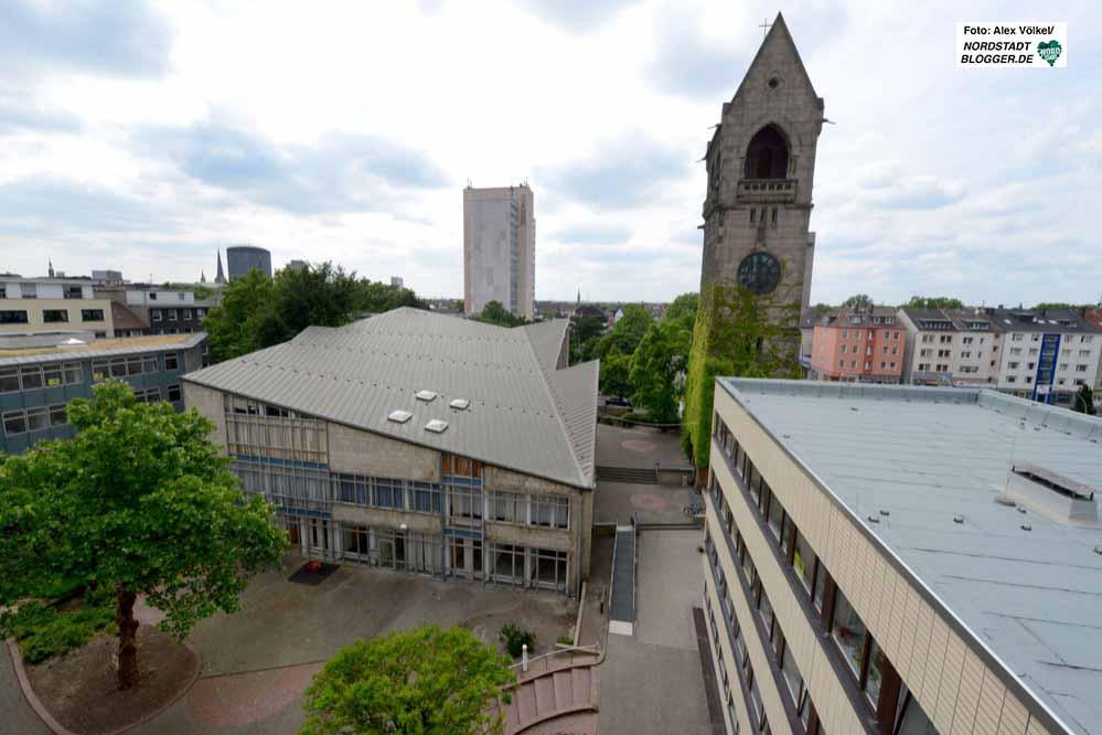 Die ehemalige Johanneskirche in der Nordstadt - Blick vom Kirchenkreis aus.