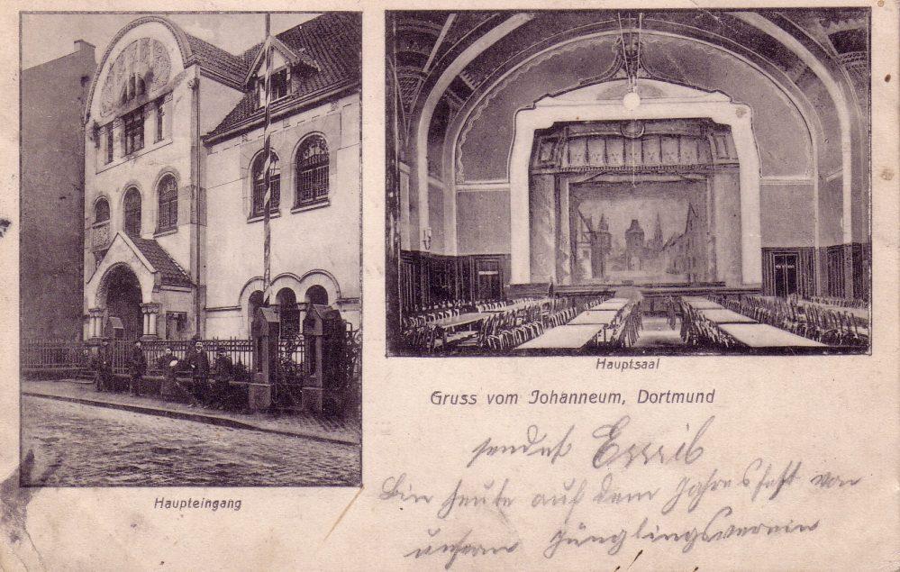 Das Gemeindehaus der Johannes-Gemeinde an der Kielstraße - Straßenfront und Blick in den Saal (Sammlung Klaus Winter)