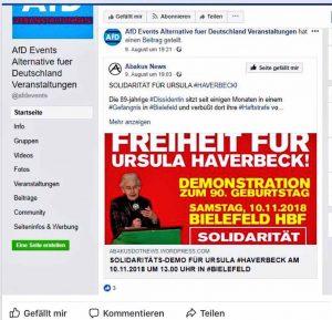 Solidaritätsadressen und Aufrufe wurden auch von AfD-Gliederungen geteilt. Foto: Screenshot Facebook