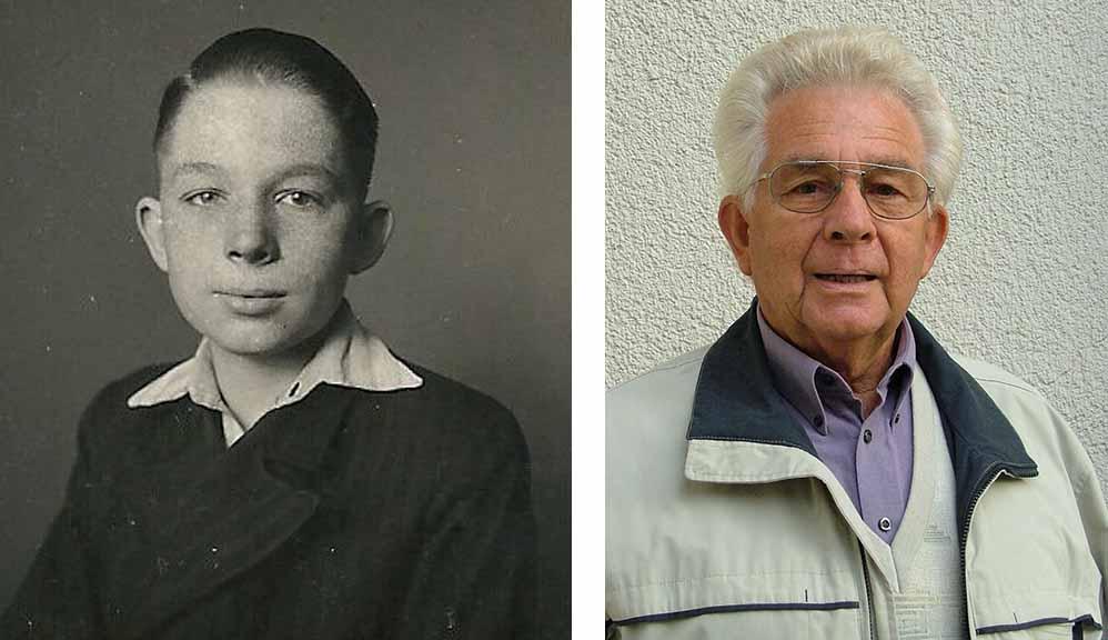 """Ein """"Jugendbildnis"""" von Horst Klaffke - das Foto für seinen 1. Werksausweis am 1. April 1943 (Foto:privat) - und heute zum 90. Geburtstag (Foto: Peter Kocbeck)."""