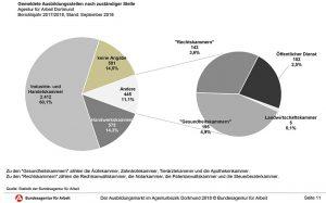 Die Grafik zeigt die Anteile der IHK und der Handwerkskammer an den bei der Arbeitsagentur gemeldeten Ausbildungsstellen.