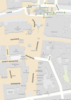 Kleppingstraße und Europabrunnen. Karte: mapz.com