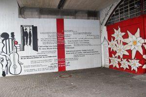 Wandgraffiti an der Hinrichtungsstätte von Edelweißpiraten in Köln-Ehrenfeld. Quelle: Wiki