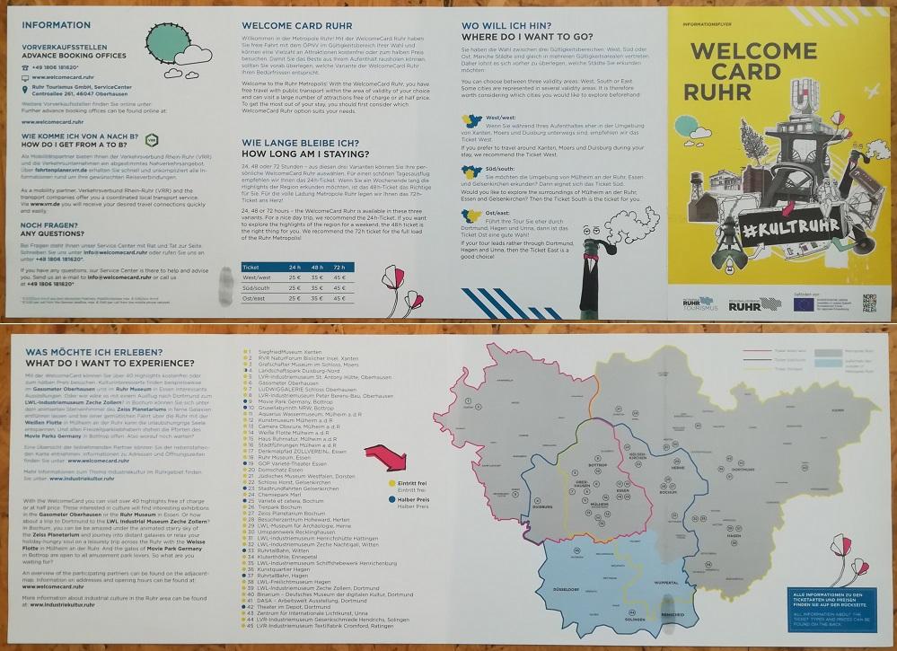Der deutsch-englisch sprachige Flyer zur WelcomeCard Ruhr. Fotos: Grd Wüsthoff