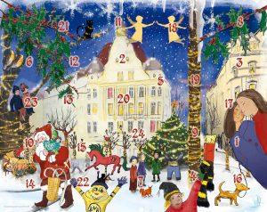 Das Motiv des Kalenders wurde von Anke Droste und Sabine Spiekermann gestaltet und stellt charakteristische Motive am Borsigplatz mit vielen humorvoll gezeichneten Details dar.