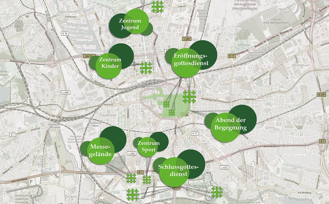 Die City, die Nordstadt mit den beiden großen Zielgruppenzentren für Kinder und Jugendliche und die Westfalenhallen sind die zentralen Anlaufstellen für den Deutschen Kirchentag.