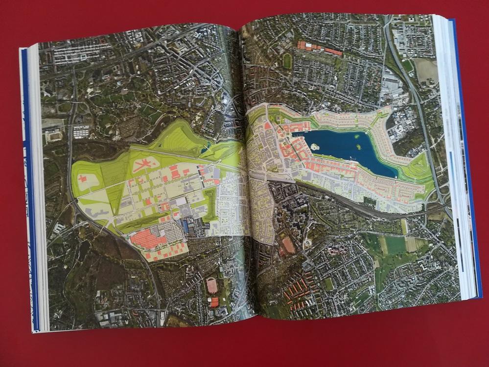 Dortmund Bauen, Luftbild von Hörde mit intergrierter Lageplanzeichnung