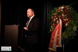 Rabbiner Baruch Babaev von der jüdischen Kulturgemeinde Dortmund hält eine Rede auf der Pogromgedenkfeier.