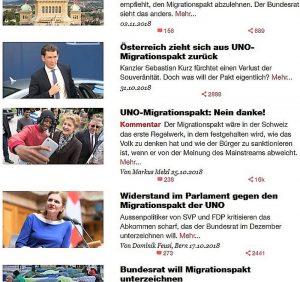 """Ausschnitt Archiv der Basler Zeitung zu Artikeln über den """"Migrationspakt"""". Deutlich wird der Beitrag von Markus Melzl als Kommentar ausgezeichnet. Heißt: er spiegelt nicht notwendig die Meinung der Redaktion. Quelle: eigener Screenshot vom 17.11.2018"""