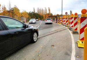 Die Umgehungsstraße über den Parkplatz der Kokerei Hansa ist in Betrieb. Fotos. Karsten Wickern