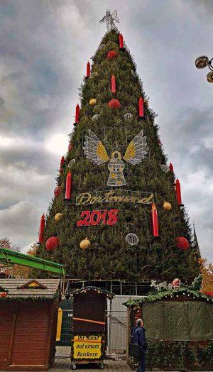 Dortmund Riesenbaum mit korrekter Höhe von 45,14 Metern. Sieben Meter lang sind die Flügel des neuen Engels in der Mitte zu jeder Seite.