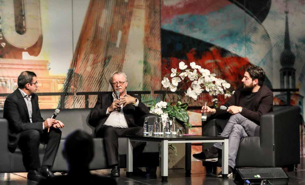 """Ahmet Toprak, Hans Leyendecker und Aladin El-Mafaalani beim """"Talk im DKH"""". Fotos: Oliver Schaper"""