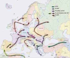 Einwanderung der Roma nach Europa. Quelle: Wiki