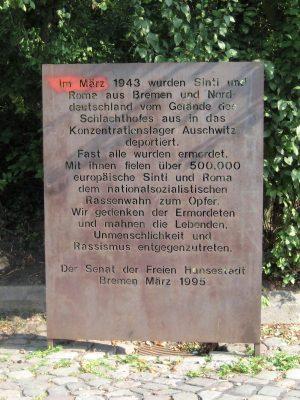 Gedenktafel für die von den Nationalsozialisten ermordeten Roma in Bremen