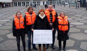 Die OrganisatorInnen der Demo in Dortmund: Clara Dornseifer, Joachim Spehl, Anja Sportelli, Hagen Dorgathen und Amelie Bastuck. Foto: Thomas Engel