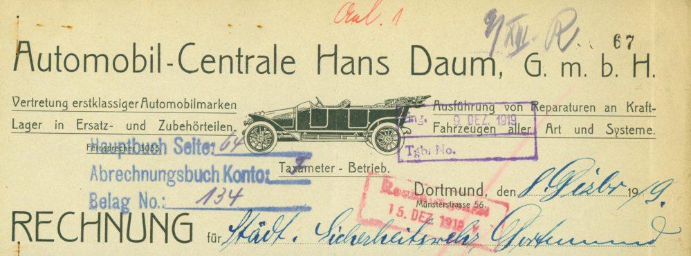 Briefkopf der Automobil-Centrale Hans Daum, 1919 (Stadtarchiv Dortmund)