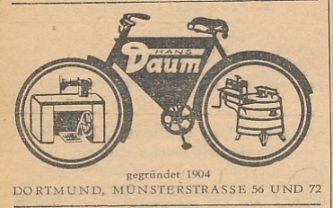Werbeeintrag der Fahrrad-, Nähmaschinen- und Waschmaschinenhandlung Hans Daum, Branchenadressbuch Gross-Dortmund, 1947