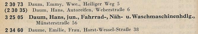 Eintrag im Örtlichen Fernsprech-Verzeichnis für Groß-Dortmund, Ausgabe Oktober 1942