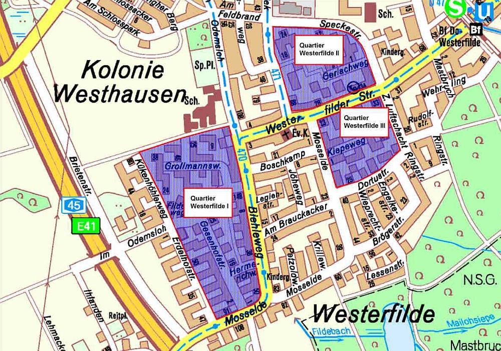Kleinräumige Quartiere in Dortmund-Westerfilde. Quelle: Stadt Dortmund