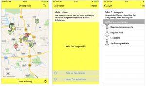Screenshot der Dreckpetze-App.