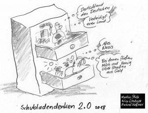 Gemeinsam mit dem Künstler Reinhard Alff haben die Jugendlichen Comic-Zeichnungen zu ihren Diskussionsthemen erstellt. Foto: Jugendforum