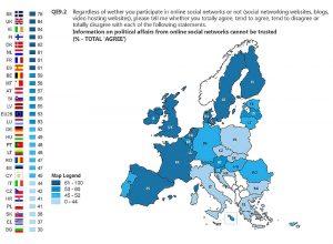 Karte Europa Studie Vertrauen in soziale Netzwerke