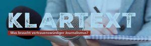 Klartext Journalismus Glaubwürdigkeit TU Dortmund Podiumsdiskussion Flyer Beitrag