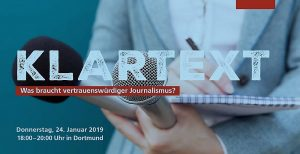 Klartext Journalismus Glaubwürdigkeit TU Dortmund Podiumsdiskussion Flyer Logo