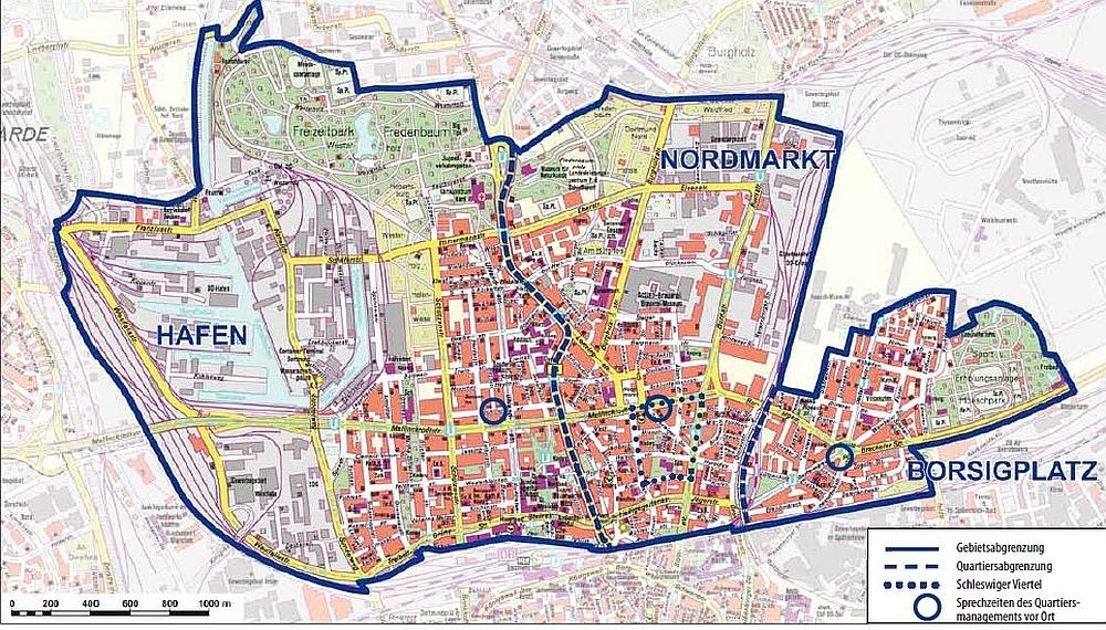 Nordstadt mit den Quartieren Hafen, Nordmarkt und Borsigplatz. Quelle: Quartiersmanagement