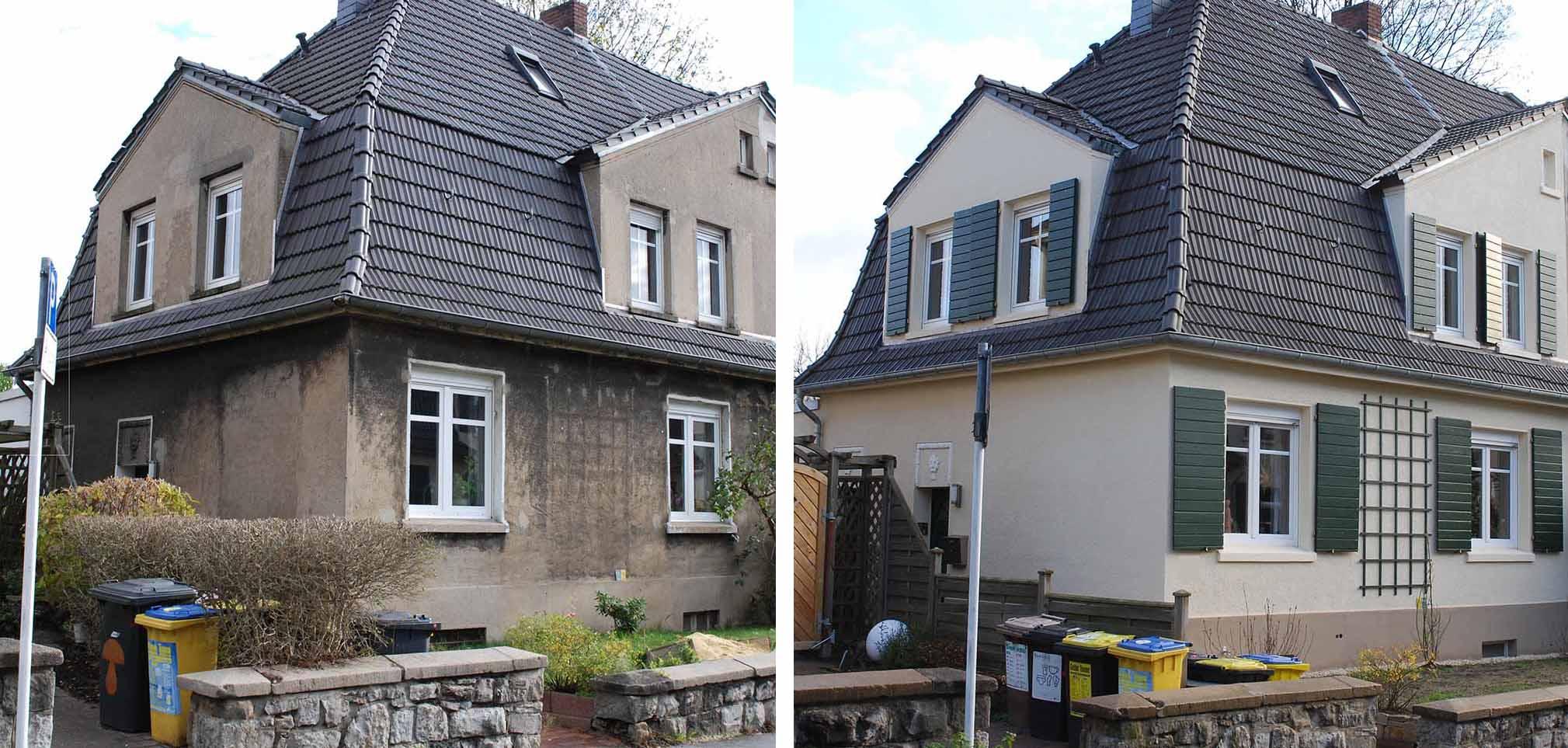 Mit Hilfe des Fassadenprogramms wurde dieses Haus in der Siedlung Oberdorstfeld saniert. Fotos: Susanne Maluck / Anneke Lamot (Stadt Dortmund/ Denkmalbehörde)