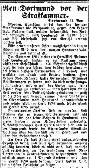 Einer der zahlreich in der Dortmunder Presse erschienenen Artikel zu den Gerichtsverhandlungen gegen den Dortmunder Lehrer Robert Kraemer (General-Anzeiger vom 11.November 1898)