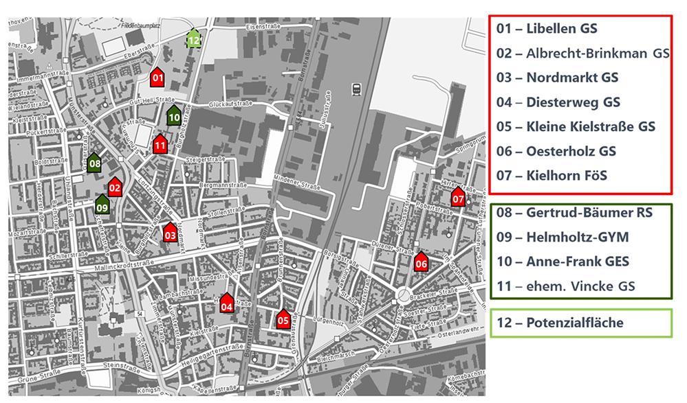 Geplante Neubauten und Modernisierungen von Nordstadtschulen