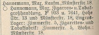 Eintrag der Fa. Max Hannemann im Adressbuch der Stadt Dortmund 1915