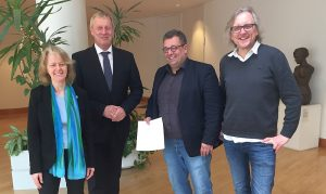 (v.l.:) Ingrid Reuter (Fraktionssprecherin im Rat), Jörg Stüdemann, Mehrdad Mostofizadeh, Ulrich Langhorst (Fraktionssprecher)