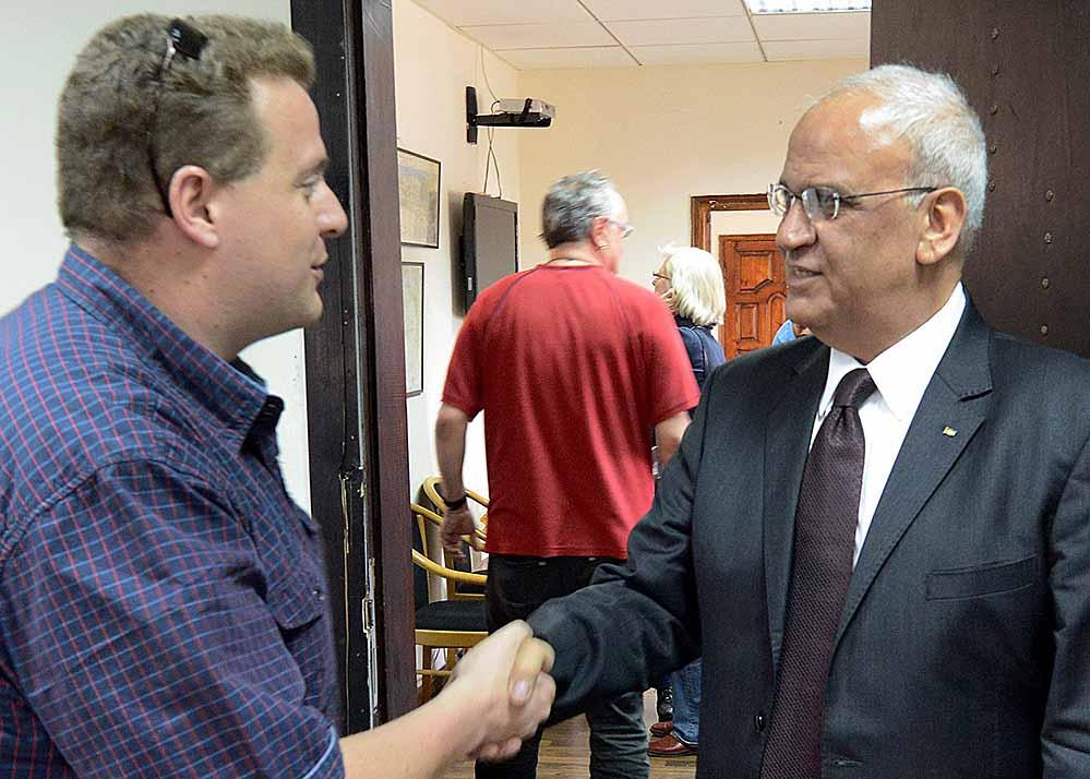 Saeb Erekat ist Chefunterhändler in den palästinensisch-israelischen Verhandlungen. Er kam zur Büroeinweihung.