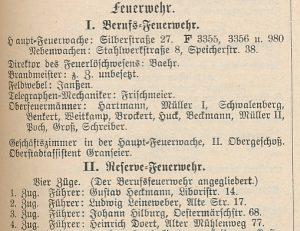 Die Feuerwehr im amtlichen Teil des Adressbuch von Dortmund, 1915