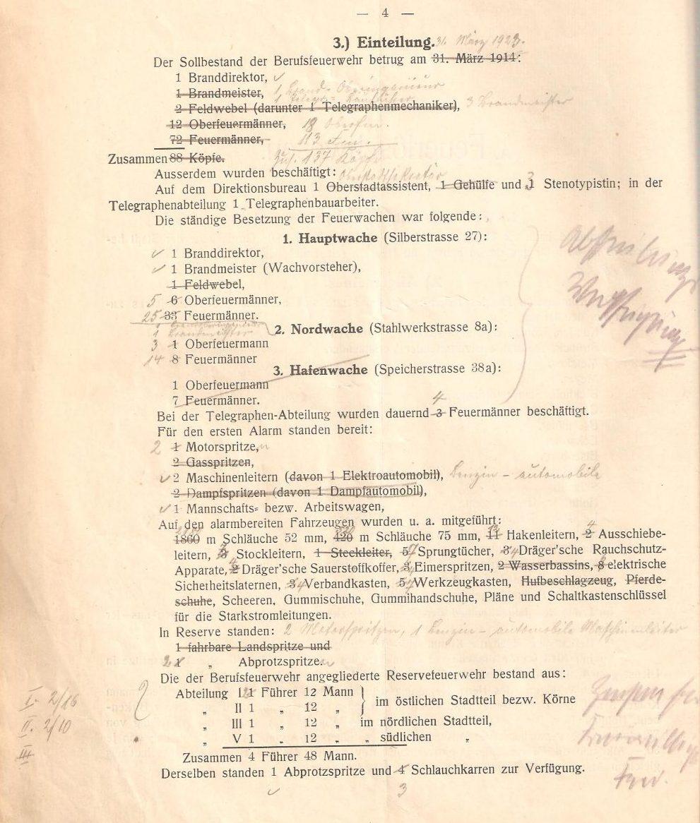 Verwaltungsbericht der Feuerwehr Dortmund 1912 mit handschriftlichen Anmerkungen (Feuerwehr Dortmund)