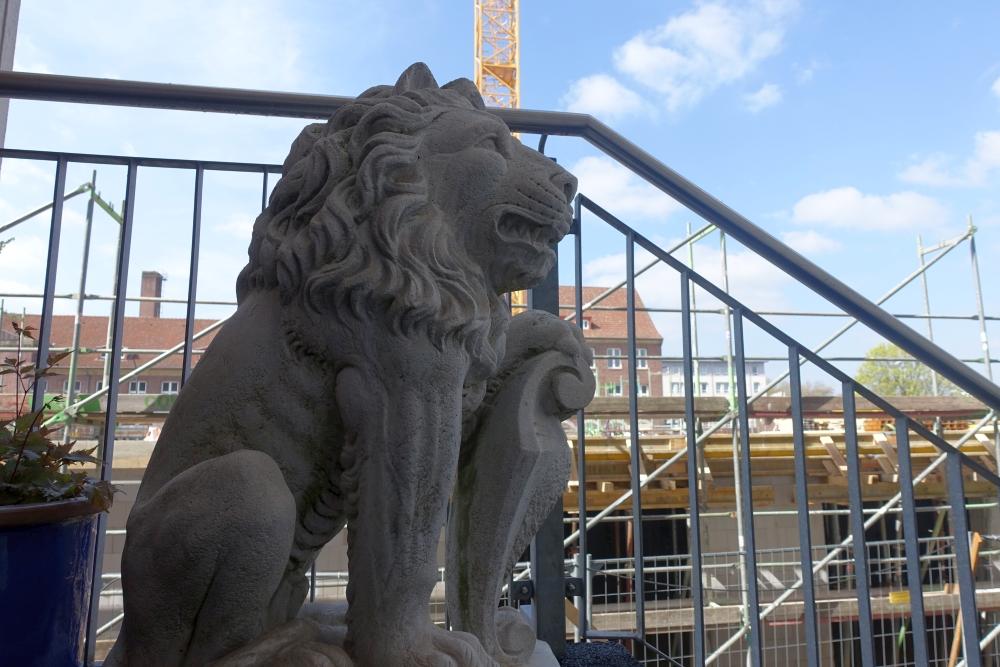 Wachender Löwe am Aufgang zum Seniorenheim gegenüber der Baustelle.