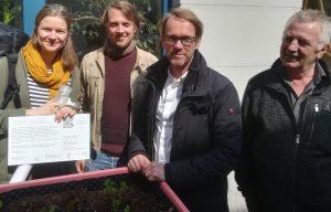 Silja Kessler, Carlos Tobisch, Jens Woelki und Andreas Schlösser (Pate)
