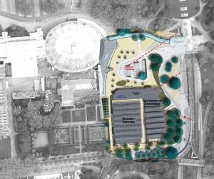 Vor das Eissportzentrum soll ein neues Gebäude gesetzt, der Vorplatz neu gestaltet und die Zufahrt an die Ardeystraße angeschlossen werden.