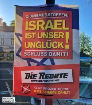 """Plakatmotiv mit bewusst provokativer Wirkung: """"Zionismus stoppen: Israel ist unser Unglück! Schluss damit!"""""""""""