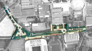 Zwischen den geplanten Kreisverkehren der Strobelallee soll ein 4,2 Hektar großer Eventbereich entstehen.